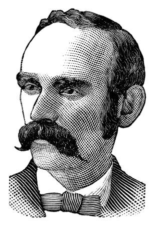 Michael Davitt, 1846-1906, he was an Irish republican and agrarian campaigner, founder of the Irish National Land League, labour leader, and member of parliament, vintage line drawing or engraving illustration