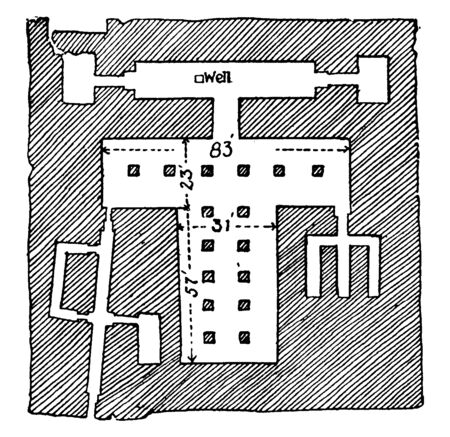 Plan of the Sphinx Temple is a statue with the face of a man and the body of a lion, its faces due east with a small temple between its paws, vintage line drawing or engraving.