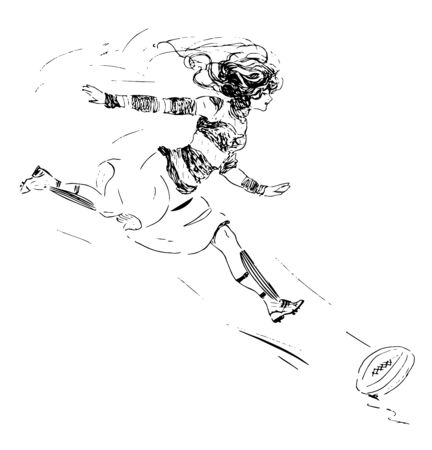 A woman is chasing a ball at the time of play, vintage line drawing or engraving illustration. Çizim