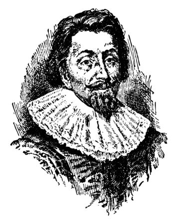 George Calvert (Lord Baltimore), 1579-1632, he was an English politician, coloniser, and founder of Maryland colony, the first Baron Baltimore, vintage line drawing or engraving illustration