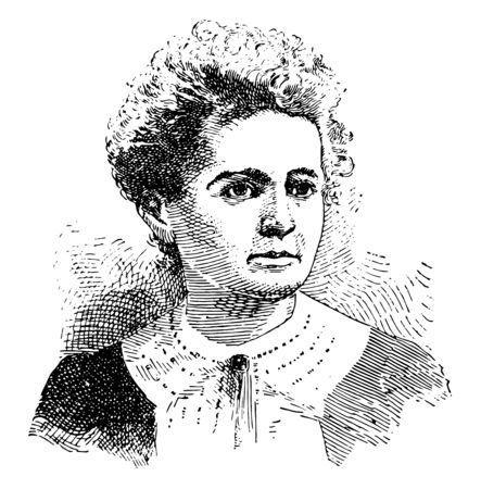 A French physicist and chemist famous for her work on radioactivity. She was the first person honored with two Nobel prizes, in physics and chemistry, vintage line drawing or engraving illustration. Ilustração