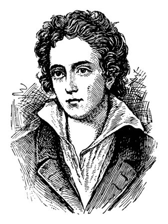 Percy Bysshe Shelley was one of the major English Romantic poets, vintage line drawing or engraving illustration