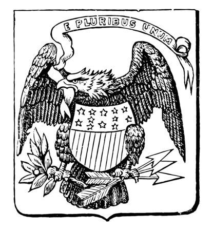 The Great Seal of the United States, 1782, this shield shape seal has bald eagle with motto E PLURIBUS UNUM has shield with stars and stripes at its chest, and holding olive branch and arrows, vintage line drawing or engraving illustration