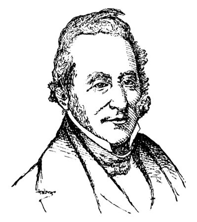 Thomas H. Benton, 1782-1858, he was U.S. senator from Missouri, an architect, and member of the democratic party, vintage line drawing or engraving illustration