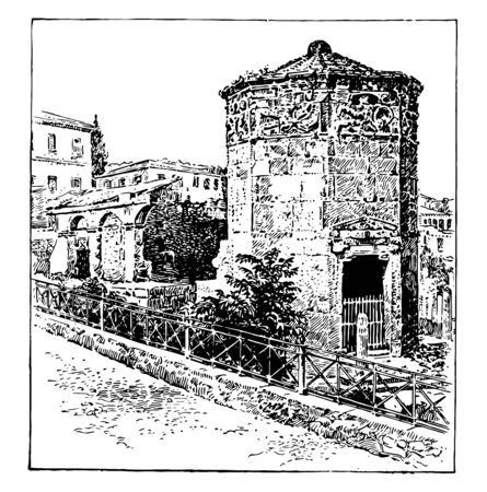Athenian Town Clock,  in the Hellenistic Age,  a specific type of building, houses a turret clock and has one or more clock faces, vintage line drawing or engraving illustration.