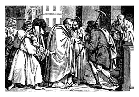 Peter holding is the hand of a lame beggar. The man holds a crutch over his shoulder. A woman standing next to Peter is holding an infant. Some people looking this scene, vintage line drawing or engraving illustration. Stock Illustratie