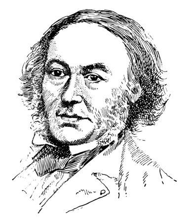 Robert Cobden, 1804-1865, he was an English manufacturer, radical and liberal statesman, vintage line drawing or engraving illustration Çizim