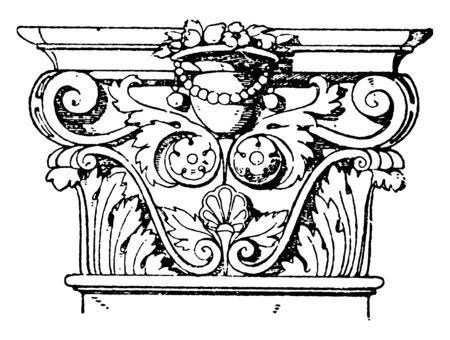 Corinthian Pilaster Capital, top level, Roman, Colosseum, vintage line drawing or engraving illustration.
