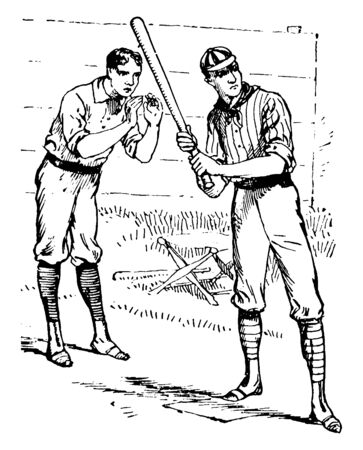 The batter and catcher at the time of playing baseball, vintage line drawing or engraving illustration.