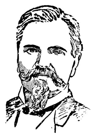 Simon B. Buckner, 1823-1914, he was an American soldier and politician in the United States army and the 30th governor of Kentucky, vintage line drawing or engraving illustration Illusztráció
