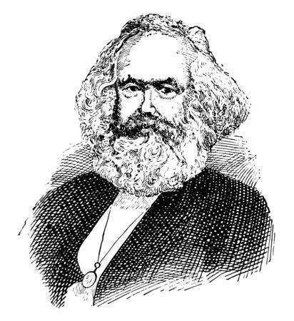 Karl Marx, 1818-1883, he was a German philosopher, economist, political theorist, sociologist, journalist and revolutionary socialist, vintage line drawing or engraving illustration Иллюстрация