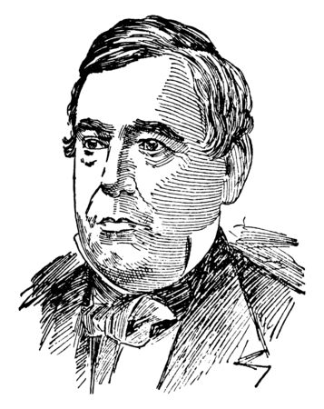 Thomas Corwin, 1794-1865, he was a politician from the state of Ohio, 15th governor of Ohio, and 20th Secretary of the Treasury, vintage line drawing or engraving illustration