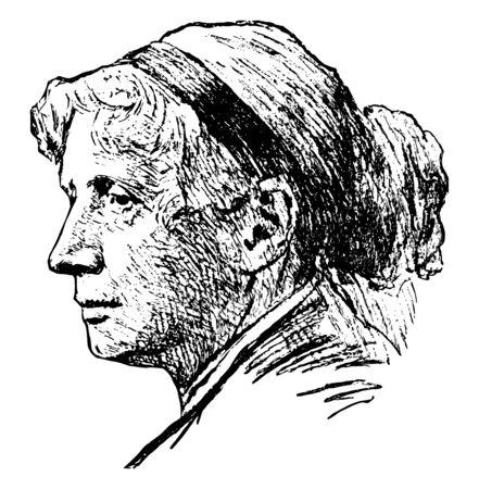Harriet Elizabeth Beecher Stowe, 1811-1896, she was an American abolitionist and author, famous for her novel Uncle Tom's Cabin, vintage line drawing or engraving illustration Ilustração Vetorial