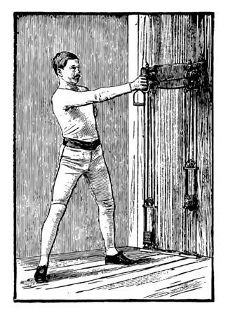 Working out is being done by a man by pulling weights from one arm and other arm resting on his waist. He is pulling weight horizontally, vintage line drawing or engraving illustration.