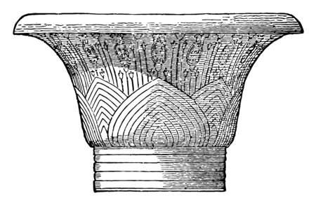 A Capital from Karnak, graceful, columns, true, arch, huge, close, set, columns, supporting, roofs, vintage line drawing or engraving illustration. Illustration