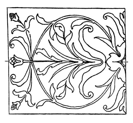 Renaissance Oblong Panel is an intarsia or wood inlay design, vintage line drawing or engraving illustration. Illustration