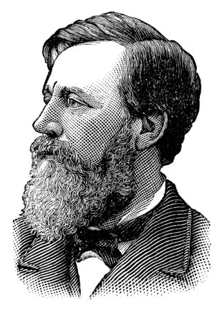 Henry W. Blair, 1834-1920, he was an American politician and United States representative and senator from New Hampshire, vintage line drawing or engraving illustration