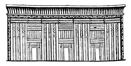 Egyptian Sarcophagus or tomb of stone, stone chest, certain pyramids, vintage line drawing or engraving illustration. Иллюстрация