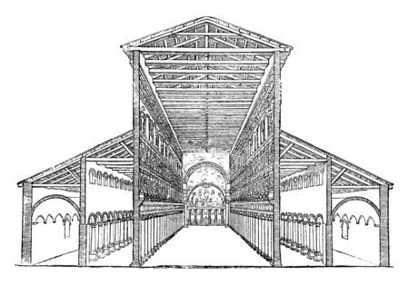 Old St. Peter's Basilica, Section and Interior View of the five-aisled Basilica,  Large basilicas sometimes have as many as five aisles, a main-aisle in the middle, vintage line drawing or engraving illustration.