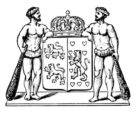 Coat of Arms, Brunswick, this seal two men holding shield with two parts, left part has two lions and right part has one lion with hearts, crown on top of shield, vintage line drawing or engraving illustration