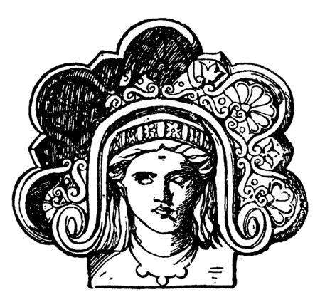 Graeco-Italic Akroter, apex, Gable, graeco-italic, ornamental, Terracotta, vintage line drawing or engraving illustration.
