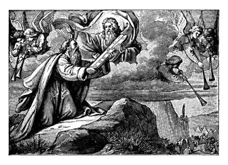 God appeared in a cloud and handling the New Law on tablets of stone to Moses who sat on knees on Sinai Mountain. Angels could be seen there, vintage line drawing or engraving illustration.