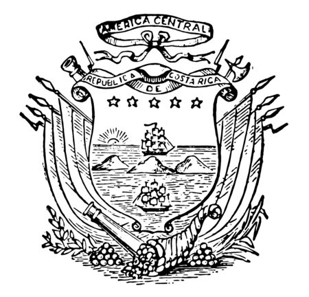 Costa Rican Coat of Arms are divide two oceans where ships are sailing, vintage line drawing or engraving illustration.