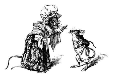 Two mice dressed up like mother mouse and boy mouse and talking, vintage line drawing or engraving illustration