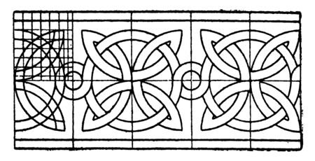 Romanesque Interlacement Band curves that have an angular bend, It is found in the archivolt in Segovia, vintage line drawing or engraving. Stockfoto - 133109884