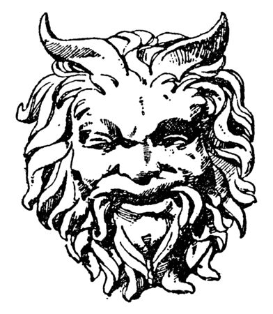 Satyr Mask was designed during the Italian Renaissance by Sansovino, vintage line drawing or engraving illustration.