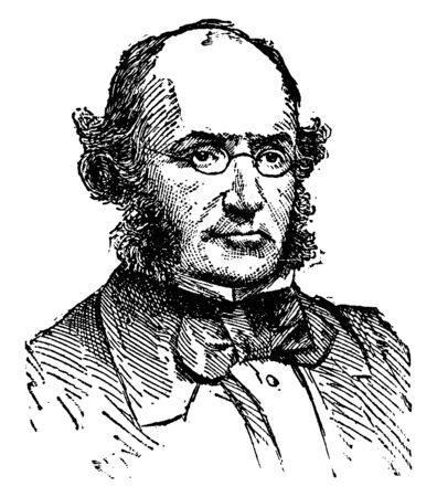 John Brown, 1810-1882, he was a Scottish physician and essayist, famous for his three-volume collection Leisure Hours, vintage line drawing or engraving illustration