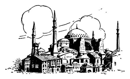 St. Sophia is Byzantine church, Istanbul, Turkey,  Constantinople building, vintage line drawing or engraving illustration.