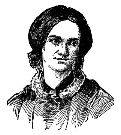 Bronte was an English novelist and known for her following novels: Jane Eyre, Shirley, Villtte, and The Professor, vintage line drawing or engraving illustration.
