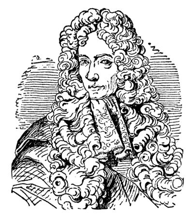 Robert Boyle, 1627-1691, he was philosopher, chemist, physicist and inventor, famous for his physics and chemistry, vintage line drawing or engraving illustration