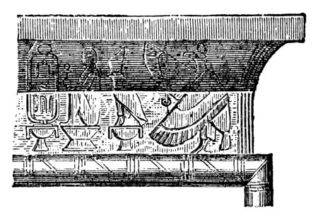 Cornice of Entablature over Doorway at the Great Temple at Philae, Egyptian, architecture, entrance, epistyle, lintel, main beam, vintage line drawing or engraving illustration Foto de archivo - 133025702