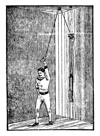 Giant Pulley is a way of exercising. In this image a man is exercising with the giant pulley, used for chest and arms, vintage line drawing or engraving illustration.