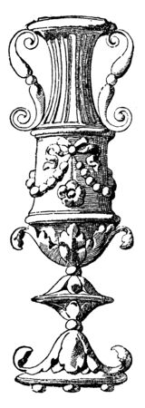 Vase is a window pilaster of the Cancelleria in Rome, It was designed by Bramante during the Italian Renaissance, vintage line drawing or engraving.