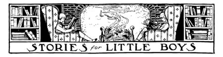 Reading Banner, boys, fireplace banner, decorative, bright, fun, vintage line drawing or engraving illustration.
