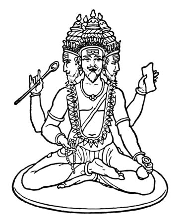 In this image, the God of Hindu religion is Lord Brahma, who is the creator of the whole world, vintage line drawing or engraving illustration.
