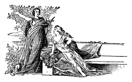 Alcaeus with lady, he was lyric poet from the Greek island of lesbos, vintage line drawing or engraving illustration Ilustração