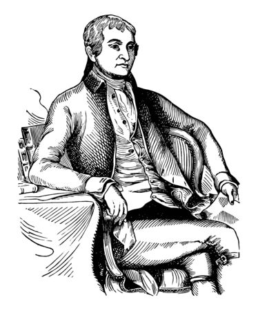 John Jay, 1745-1829, he was an American statesman, Patriot, diplomat, one of the founding fathers of the United States, second governor of New York, and the first chief Justice of the United States, vintage line drawing or engraving illustration