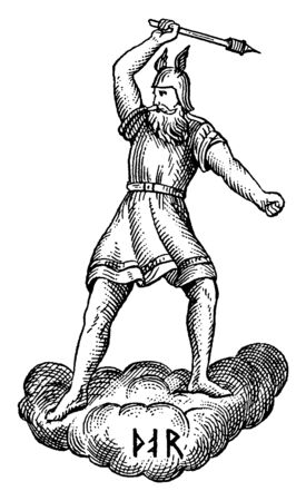 The Norse god of thunder, Thor, is flinging his hammer and standing on a cloud. He is wearing a short, belted tunic and his traditional winged helmet, vintage line drawing or engraving illustration.