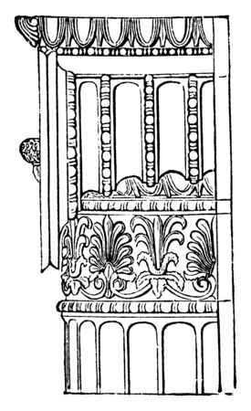 Ionic Angle Column from the Temple of Minerva Polias at Athens, Side, weight, massive, entablature, shaft, vintage line drawing or engraving illustration. Archivio Fotografico - 133021346