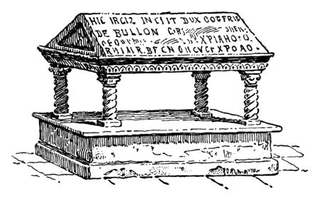 The grave of the ruler of Godfrey de Bouillon of Jerusalem has been shown in the picture; He refused the title of King and preferred to be called a Protector, vintage line drawing or engraving illustration.