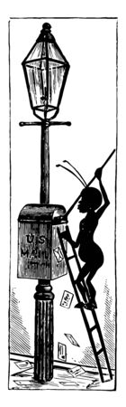 This U.S. mailbox is shown attached to a street light, vintage line drawing or engraving illustration. Illustration