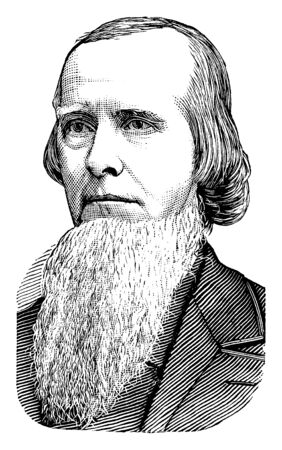 Joseph E. Brown, 1821-1894, he was politician, governor of Georgia from 1857 to 1865, an attorney, and U.S. senator from Georgia, vintage line drawing or engraving illustration