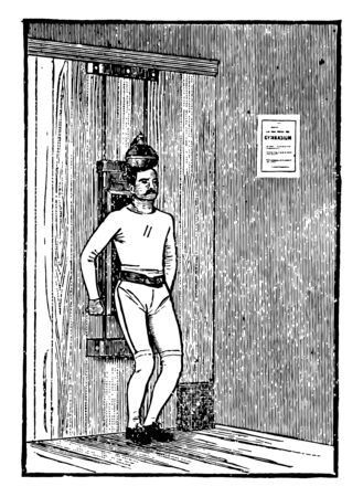 In this picture this is a Head Lifting Machine. A man is exercising with the head lifting machine. There is a document on wall which is indicates information of Head Lifting Machine, vintage line drawing or engraving illustration.