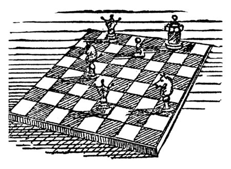 This is a game played by two persons, on a board containing sixty-four squares, with two differently colored sets of pieces. These pieces are in black & white color, vintage line drawing or engraving illustration. Illustration