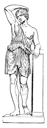 A drawing of female warrior standing next to a pole, vintage line drawing or engraving illustration.