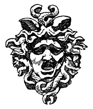 Tympanum Medusa Head is found in the arch of the entrance of the Royal Palace of Tuileries in Paris, vintage line drawing or engraving illustration.